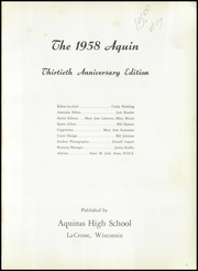 Page 5, 1958 Edition, Aquinas High School - Trumpet Yearbook (La Crosse, WI) online yearbook collection