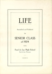 Page 5, 1924 Edition, Fond Du Lac High School - Life Yearbook (Fond Du Lac, WI) online yearbook collection