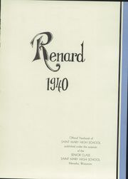 Page 5, 1940 Edition, St Mary Central High School - Renard Yearbook (Menasha, WI) online yearbook collection