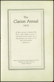 Page 5, 1919 Edition, Appleton High School - Clarion Yearbook (Appleton, WI) online yearbook collection