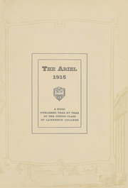 Page 3, 1915 Edition, Lawrence University - Ariel Yearbook (Appleton, WI) online yearbook collection