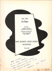 Page 5, 1951 Edition, San Jacinto High School - El Oroso Yearbook (Houston, TX) online yearbook collection