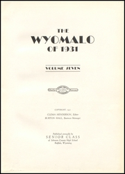 Page 7, 1931 Edition, Johnson County High School - Wyomalo Yearbook (Buffalo, WY) online yearbook collection