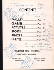 Page 7, 1956 Edition, Riverside High School - Mercury Yearbook (Milwaukee, WI) online yearbook collection