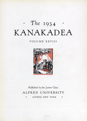 Page 7, 1934 Edition, Alfred University - Kanakadea Yearbook (Alfred, NY) online yearbook collection