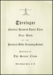Page 5, 1933 Edition, Practical Bible Training School - Theologue Yearbook (Johnson City, NY) online yearbook collection