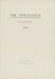 Page 7, 1934 Edition, Practical Bible Training School - Theologue Yearbook (Johnson City, NY) online yearbook collection