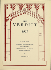 Page 3, 1931 Edition, Albany Law School - Verdict Yearbook (Albany, NY) online yearbook collection