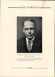 Page 10, 1936 Edition, Albany Law School - Verdict Yearbook (Albany, NY) online yearbook collection