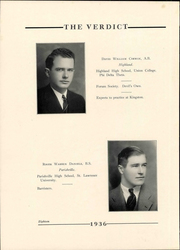 Page 22, 1936 Edition, Albany Law School - Verdict Yearbook (Albany, NY) online yearbook collection