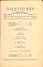 Page 5, 1944 Edition, Niles Junior High School - Milestones Yearbook (Bronx, NY) online yearbook collection