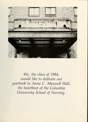 Page 7, 1984 Edition, Columbia University School of Nursing - Yearbook (New York, NY) online yearbook collection