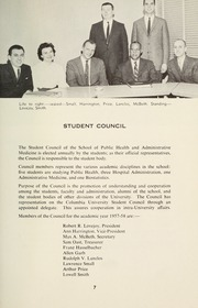 Page 9, 1958 Edition, Columbia University School of Public Health - Yearbook (New York, NY) online yearbook collection