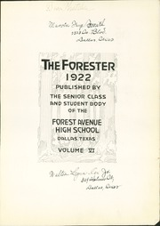 Page 7, 1922 Edition, Forest Avenue High School - Forester Yearbook (Dallas, TX) online yearbook collection