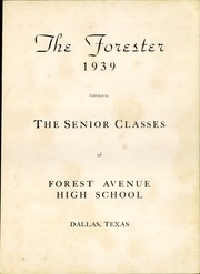 Page 7, 1939 Edition, Forest Avenue High School - Forester Yearbook (Dallas, TX) online yearbook collection