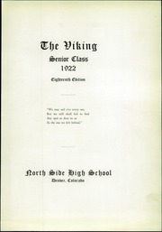 Page 7, 1922 Edition, North High School - Viking Yearbook (Denver, CO) online yearbook collection