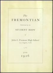 Page 5, 1926 Edition, John Fremont High School - Fremontian Yearbook (Los Angeles, CA) online yearbook collection