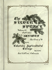 Page 11, 1918 Edition, Colorado State University Fort Collins - Silver Spruce Yearbook (Fort Collins, CO) online yearbook collection