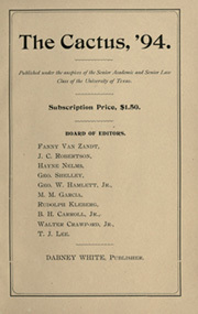 Page 9, 1894 Edition, University of Texas Austin - Cactus Yearbook (Austin, TX) online yearbook collection