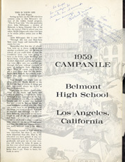 Page 5, 1959 Edition, Belmont High School - Campanile Yearbook (Los Angeles, CA) online yearbook collection