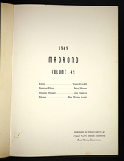 Page 5, 1949 Edition, Palo Alto High School - Madrono Yearbook (Palo Alto, CA) online yearbook collection