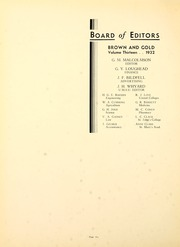 Page 14, 1932 Edition, University of Manitoba - Brown and Gold Yearbook (Winnipeg, Manitoba Canada) online yearbook collection