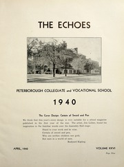 Page 15, 1940 Edition, Peterborough Collegiate and Vocational School - Echoes Yearbook (Peterborough, Ontario Canada) online yearbook collection