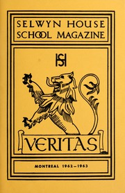Page 1, 1963 Edition, Selwyn House School - Yearbook (Montreal, Quebec Canada) online yearbook collection