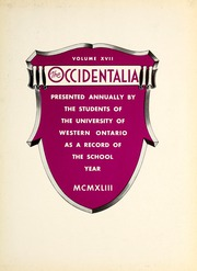Page 7, 1943 Edition, University of Western Ontario - Occidentalia Yearbook (London, Ontario Canada) online yearbook collection