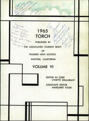 Page 5, 1965 Edition, Pioneer High School - Torch Yearbook (Whittier, CA) online yearbook collection