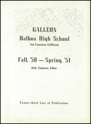 Page 7, 1951 Edition, Balboa High School - Galleon Yearbook (San Francisco, CA) online yearbook collection