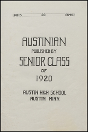 Page 7, 1920 Edition, Austin High School - Austinian Yearbook (Austin, MN) online yearbook collection