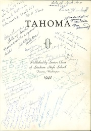 Page 5, 1940 Edition, Stadium High School - Tahoma Yearbook (Tacoma, WA) online yearbook collection