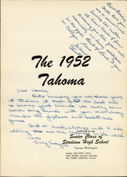 Page 5, 1952 Edition, Stadium High School - Tahoma Yearbook (Tacoma, WA) online yearbook collection