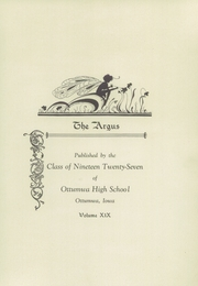 Page 7, 1927 Edition, Ottumwa High School - Argus Yearbook (Ottumwa, IA) online yearbook collection