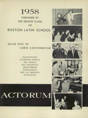 Page 5, 1958 Edition, Boston Latin School - Liber Actorum Yearbook (Boston, MA) online yearbook collection