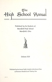 Page 9, 1921 Edition, Mansfield High School - Manhigan Yearbook (Mansfield, OH) online yearbook collection