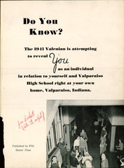Page 5, 1941 Edition, Valparaiso High School - Valenian Yearbook (Valparaiso, IN) online yearbook collection