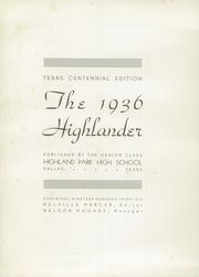 Page 7, 1936 Edition, Highland Park High School - Highlander Yearbook (Dallas, TX) online yearbook collection