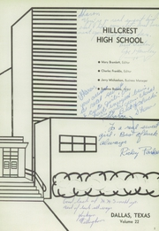 Page 5, 1960 Edition, Hillcrest High School - Panther Yearbook (Dallas, TX) online yearbook collection