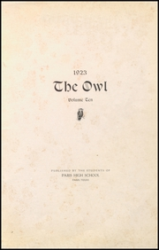 Page 7, 1923 Edition, Paris High School - Owl Yearbook (Paris, TX) online yearbook collection