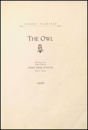 Page 9, 1927 Edition, Paris High School - Owl Yearbook (Paris, TX) online yearbook collection
