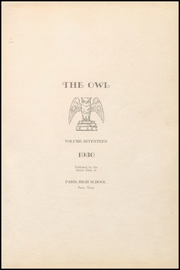 Page 5, 1930 Edition, Paris High School - Owl Yearbook (Paris, TX) online yearbook collection