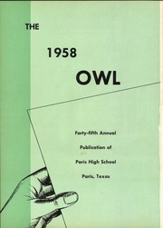 Page 4, 1958 Edition, Paris High School - Owl Yearbook (Paris, TX) online yearbook collection