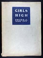 1919 Edition, Girls High School - Journal Yearbook (San Francisco, CA)