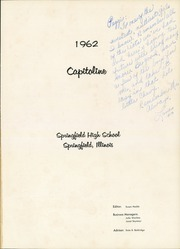 Page 5, 1962 Edition, Springfield High School - Capitoline Yearbook (Springfield, IL) online yearbook collection