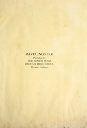 Page 7, 1933 Edition, Decatur High School - Ravelings Yearbook (Decatur, IN) online yearbook collection