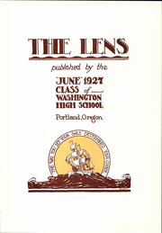 Page 7, 1927 Edition, Washington High School - Lens Yearbook (Portland, OR) online yearbook collection