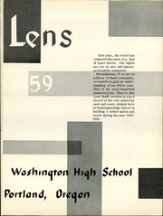 Page 5, 1959 Edition, Washington High School - Lens Yearbook (Portland, OR) online yearbook collection