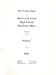 Page 5, 1961 Edition, Blue Creek High School - Galaxy Yearbook (Haviland, OH) online yearbook collection